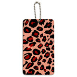 Leopard Animal Print Pink Wood ID Card Luggage Tag