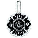 Firefighter Fire Rescue Maltese Cross Round ID Card Luggage Tag