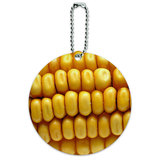 Corn on the Cob Kernels Round ID Card Luggage Tag
