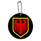 German Crest Germany Round Wood ID Card Luggage Tag