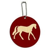Horse Riding Cowboy Western Round Wood ID Card Luggage Tag