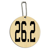26.2 Marathon Running Jogging Round Wood ID Card Luggage Tag