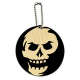 Skull Abstract Round Wood ID Card Luggage Tag
