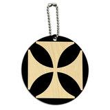 Iron Maltese Cross Round Wood ID Card Luggage Tag