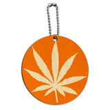 Marijuana Leaf Orange Round Wood ID Card Luggage Tag