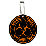 Zombie Outbreak Response Team Orange Round Wood ID Card Luggage Tag