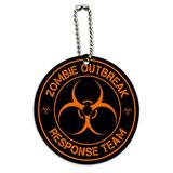 Zombie Outbreak Response Team Orange Round Wood ID Card Luggage Tag