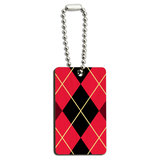 Argyle Hipster Pink - Preppy Wood Rectangle Key Chain