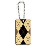 Argyle Hipster Black White - Preppy Wood Rectangle Key Chain