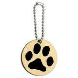 Paw Print Pet Dog Cat Wood Round Key Chain