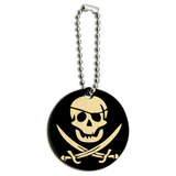 Pirate Skull Crossed Swords Jolly Roger Wood Round Key Chain