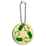 Recycle Reuse Conservation Hybrid Wood Round Key Chain