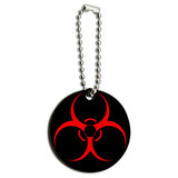 Biohazard Warning Symbol Zombie Radioactive Wood Round Key Chain