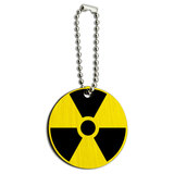 Radioactive Nuclear Warning Symbol Wood Round Key Chain