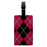 Argyle Hipster Pink - Preppy Rectangle Leather Luggage ID Tag
