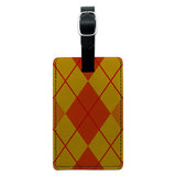 Argyle Hipster Orange - Preppy Rectangle Leather Luggage ID Tag