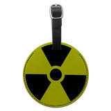 Radioactive Nuclear Warning Symbol Round Leather Luggage ID Bag Tag Suitcase