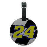 Number 24 Checkered Flag Racing Round Leather Luggage ID Bag Tag