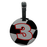 Number 3 Checkered Flag Racing Round Leather Luggage ID Bag Tag