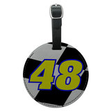 Number 48 Checkered Flag Racing Round Leather Luggage ID Bag Tag