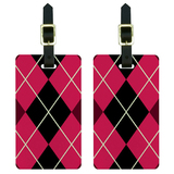 Argyle Hipster Pink - Preppy Luggage Tag Set