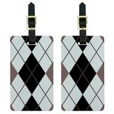 Argyle Hipster Black White - Preppy Luggage Tag Set