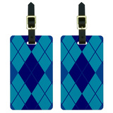 Argyle Hipster Blue - Preppy Luggage Tag Set