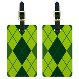 Argyle Hipster Green - Preppy Luggage Tag Set