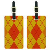Argyle Hipster Orange - Preppy Luggage Tag Set