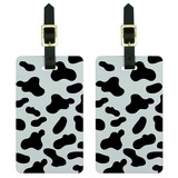 Cow Print Black White Luggage Tag Set