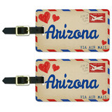 Air Mail Postcard Love for Arizona Luggage Tag Set