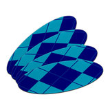 Argyle Hipster Blue - Preppy Double-Sided Oval Nail File Emery Board Set 4 Pack