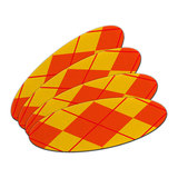 Argyle Hipster Orange - Preppy Double-Sided Oval Nail File Emery Board 4 Pack