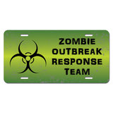 Zombie Outbreak Response Team Green Distressed Novelty License Plate