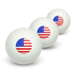American USA Flag - Patriotic Novelty Table Tennis Ping Pong Ball 3 Pack