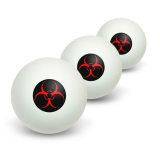 Biohazard Warning Symbol - Zombie Radioactive Novelty Table Tennis Ping Pong Ball 3 Pack