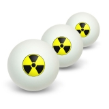 Radioactive Nuclear Warning Symbol Novelty Table Tennis Ping Pong Ball 3 Pack
