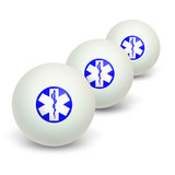 Star of Life - Medical Health EMT RN MD Novelty Table Tennis Ping Pong Ball 3 Pack