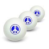 Peace Sign Symbol - Blue Novelty Table Tennis Ping Pong Ball 3 Pack