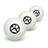 Paw Print - Pet Dog Cat - White on Black Novelty Table Tennis Ping Pong Ball 3 Pack