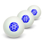 Atomic Symbol White Blue Novelty Table Tennis Ping Pong Ball 3 Pack