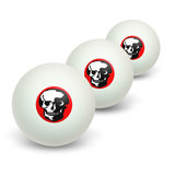Skull Skeleton on Red Novelty Table Tennis Ping Pong Ball 3 Pack