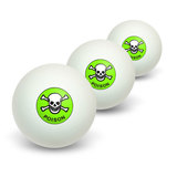 Poison Skull And Crossbones Novelty Table Tennis Ping Pong Ball 3 Pack