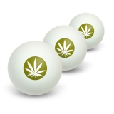 Marijuana Leaf - Olive Novelty Table Tennis Ping Pong Ball 3 Pack