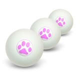 Paw Print - Pink Novelty Table Tennis Ping Pong Ball 3 Pack