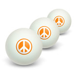Peace Sign Symbol - Orange Novelty Table Tennis Ping Pong Ball 3 Pack