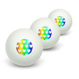Sweet Heart Pattern Rainbow Novelty Table Tennis Ping Pong Ball 3 Pack