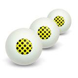Polka Dots Black Yellow Novelty Table Tennis Ping Pong Ball 3 Pack
