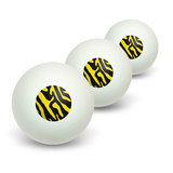 Zebra Print Black Yellow Novelty Table Tennis Ping Pong Ball 3 Pack
