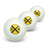 Railroad crossing Traffic Sign - Train Novelty Table Tennis Ping Pong Ball 3 Pack